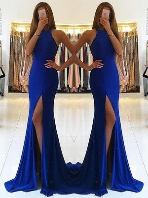 Sheath/Column Halter Sleeveless Ruffles Sweep/Brush Train Spandex Dresses