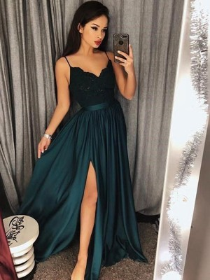 A-Line/Princess Spaghetti Straps Sleeveless Silk like Satin Floor-Length Lace Dresses