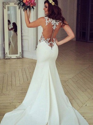 Trumpet/Mermaid Scoop Sleeveless Lace Sweep/Brush Train Wedding Dresses With Applique
