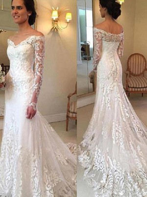 Trumpet/Mermaid Off-the-Shoulder Long Sleeves Lace Court Train Wedding Dresses With Applique
