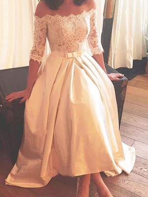 A-Line/Princess Off-the-Shoulder Lace Satin 1/2 Sleeves Asymmetrical Sweep/Brush Train Wedding Dresses