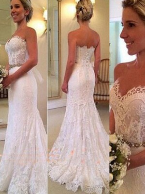 Trumpet/Mermaid Sweetheart Lace Sleeveless Sweep/Brush Train Wedding Dresses With Applique