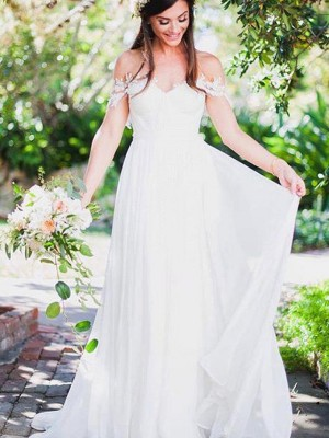 A-Line/Princess Off-the-Shoulder Lace Sleeveless Chiffon Sweep/Brush Train Wedding Dresses With Applique