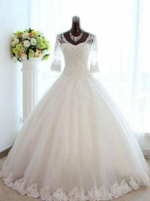 Ball Gown V-neck Tulle 3/4 Sleeves Bateau Floor-Length Wedding Dresses With Beading