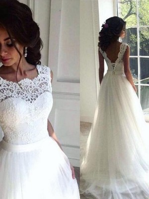 A-Line/Princess Lace Sash/Ribbon/Belt Sleeveless Tulle Bateau Sweep/Brush Train Wedding Dresses