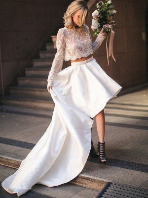 A-Line/Princess Scoop Long Sleeves Lace Sweep/Brush Train Satin Two Piece Wedding Dresses