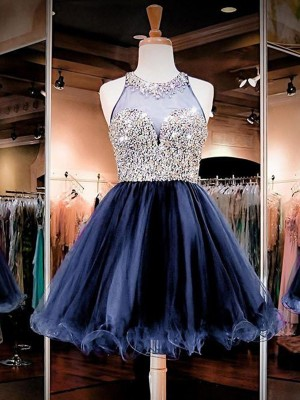A-Line/Princess Bateau Tulle Short Dresses With Beading