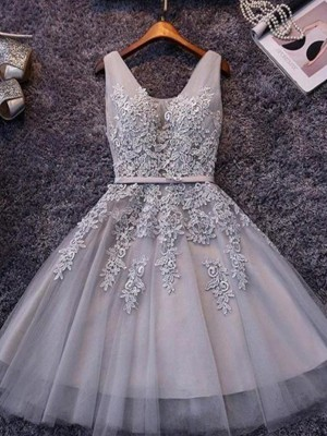 A-Line/Princess Sleeveless Straps Tulle Short Dresses With Applique