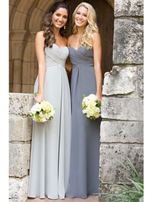 A-Line/Princess Sweetheart Sleeveless Floor-Length Ruched Chiffon Bridesmaid Dresses