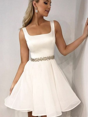 A-Line/Princess Straps Chiffon Sleeveless Short Dresses With Beading