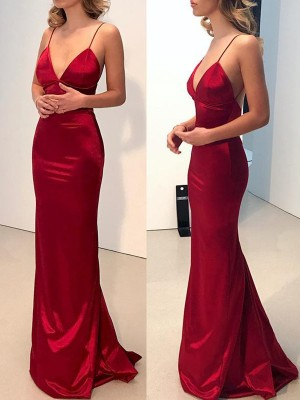 Sheath/Column V-neck Spaghetti Straps Silk like Satin Sweep/Brush Train Dresses