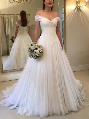 A-Line/Princess Off-the-Shoulder Sleeveless Tulle Ruched Sweep/Brush Train Wedding Dresses