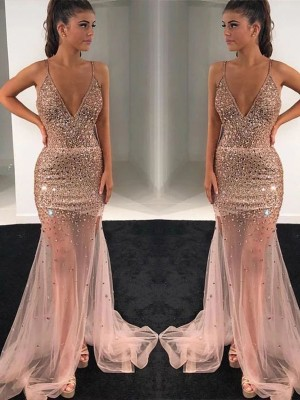 A-Line Tulle Paillette V-neck Sleeveless Long Prom/Formal Evening Dress