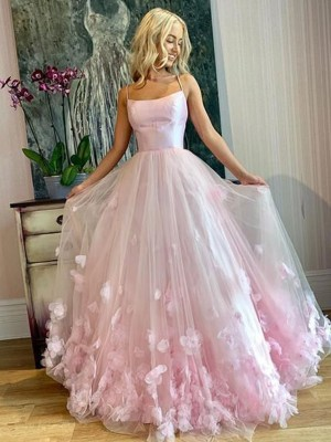 A-Line Bateau Tulle Sleeveless Applique Floor-Length Formal Evening Dress