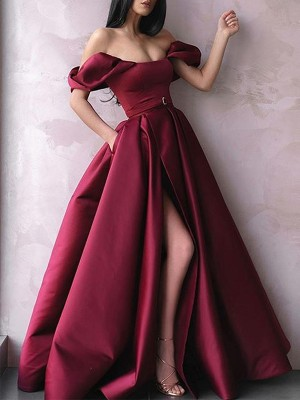 Dancing Queen A-Line Sash/Ribbon/Belt Off-the-Shoulder Sleeveless Satin Long Dresses