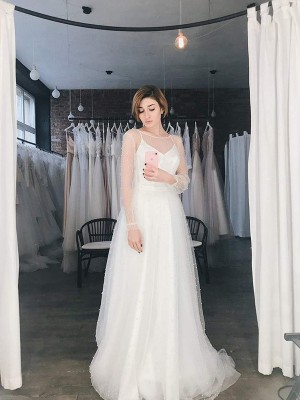 A-Line Tulle Scoop Long Sleeves Sweep/Brush Train Wedding Dresses with Beading