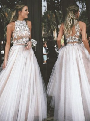 A-Line/Princess Sleeveless High Neck Tulle Long Dress With Beading