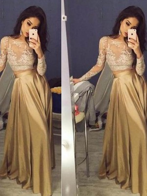A-Line/Princess Long Sleeves Scoop Taffeta Long Two Piece Dress With Appliques