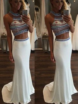 Trumpet/Mermaid Sleeveless Halter Sweep/Brush Train Chiffon Two Piece Dress With Beading