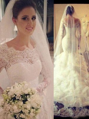 Trumpet/Mermaid Scoop Long Sleeves Court Train Tulle Wedding Dress With Lace