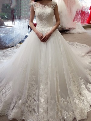 Ball Gown Sleeveless Bateau Chapel Train Tulle Wedding Dress With Applique