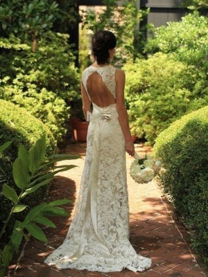 Sheath/Column Sleeveless V-neck Sweep/Brush Train Wedding Dress