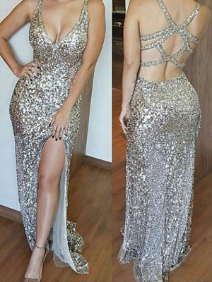 Sheath/Column Sleeveless V-neck Sweep/Brush Train Sequins Dresses