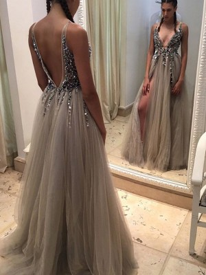 Sexy A-Line/Princess V-neck Sleeveless Tulle Paillette Sweep/Brush Train Dresses