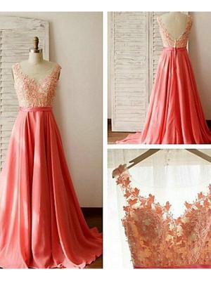 Watermelon A-Line/Princess Sleeveless Sweetheart Long Bridesmaid Dress With Lace Chiffon