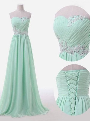 Green A-Line/Princess Sleeveless Sweetheart Long Chiffon Bridesmaid Dress With Beading