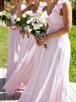 Pink A-Line/Princess One-Shoulder Sleeveless Long Chiffon Bridesmaid Dress With