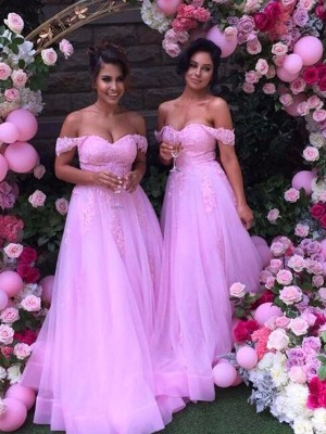 Lilac A-Line/Princess Off-the-Shoulder Sleeveless Long Tulle Bridesmaid Dress With Applique