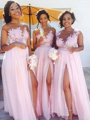 Pink A-Line/Princess Scoop Sleeveless Long Chiffon Bridesmaid Dress With Applique