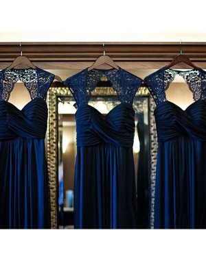 Dark Navy A-Line/Princess Sleeveless Sweetheart Long Chiffon Bridesmaid Dress With Lace