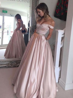 A-Line/Princess Off-the-Shoulder Sleeveless Other Satin Floor-Length Dresses