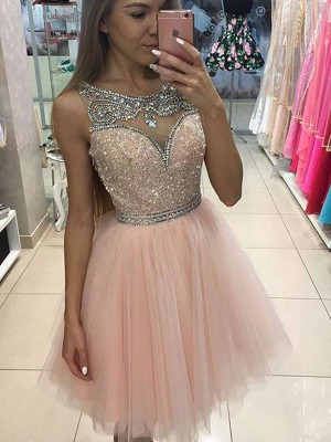 A-Line/Princess Scoop Sleeveless With Beading Short Tulle Dresses