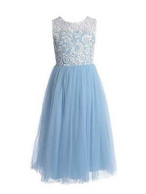 A-Line/Princess Sleeveless Jewel Lace Floor-Length Tulle Flower Girl Dresses