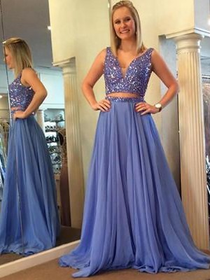 A-Line/Princess Sleeveless V-neck Chiffon Beading Floor-Length Two Piece Dresses
