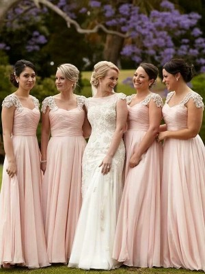 Pink A-Line/Princess Short Sleeves Square Chiffon Long Bridesmaid Dress With Beading