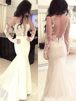 Sweep/Brush Train Trumpet/Mermaid Scoop Long Sleeves Applique Chiffon Dresses