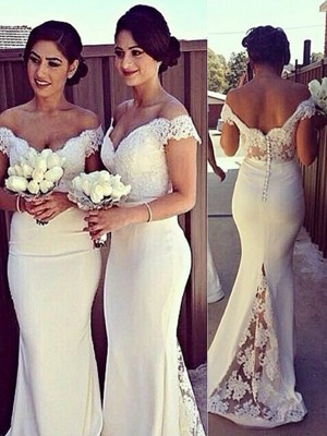 Trumpet/Mermaid Off-the-Shoulder Sleeveless Lace Satin Sweep/Brush Train Dresses
