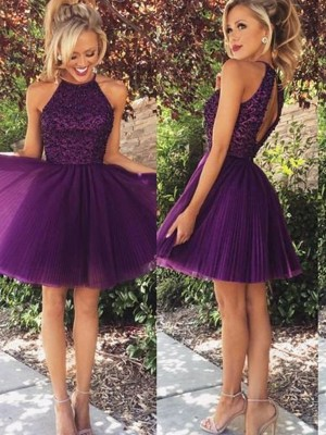 A-Line/Princess Halter Sleeveless With Beading Short Tulle Dresses