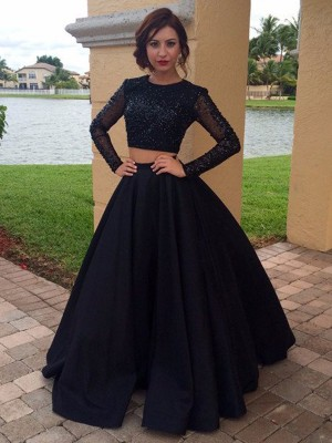 Ball Gown Long Sleeves Scoop Long Satin Dress With Beading