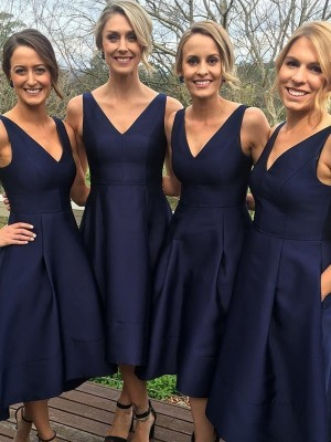 A-Line/Princess V-neck Sleeveless Other Satin Tea-Length Bridesmaid Dresses