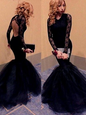 Trumpet/Mermaid Long Sleeves Scoop Long Tulle Dress With With Lace