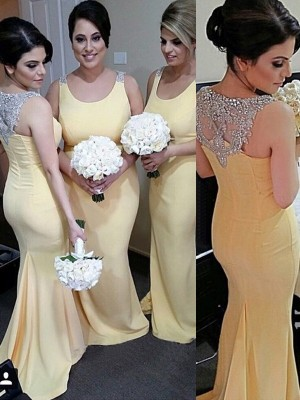 Daffodil Trumpet/Mermaid Scoop Sleeveless Long Satin Bridesmaid Dress With Beading