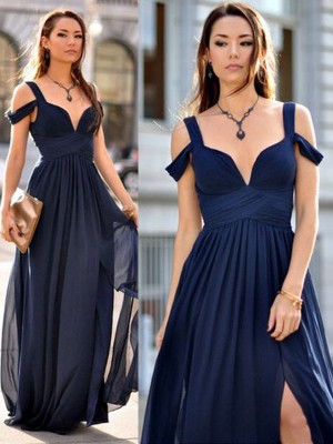 Dark Navy A-Line/Princess Sleeveless Straps Long Chiffon Bridesmaid Dress