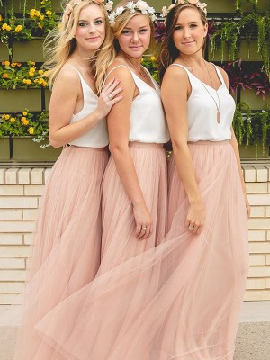 Pink A-Line/Princess V-neck Sleeveless Long Tulle Bridesmaid Dress