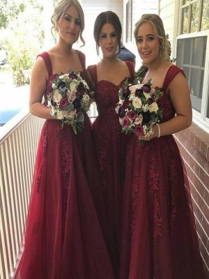 Burgundy A-Line/Princess Sleeveless Straps Long Tulle Bridesmaid Dress With Applique