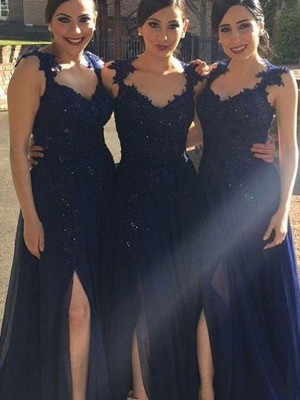 Dark Navy A-Line/Princess Sweetheart Sleeveless Long Chiffon Bridesmaid Dress With Lace